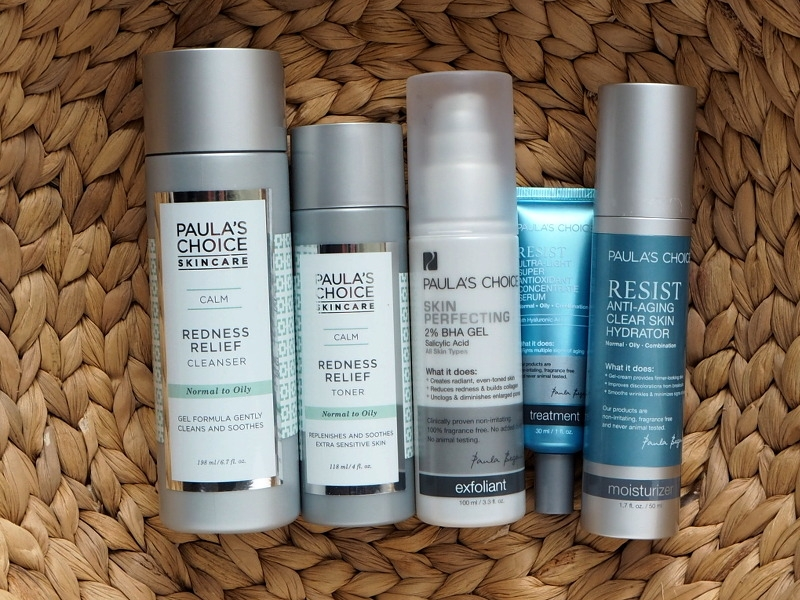 Paulas Choice Pflegeroutine Empfehlung Redness Relief Cleanser Redness Relief Toner Skin Perfecting BHA Gel Resist Anti Aging Clear Skin Hydrator Super Antioxidant Concentrate