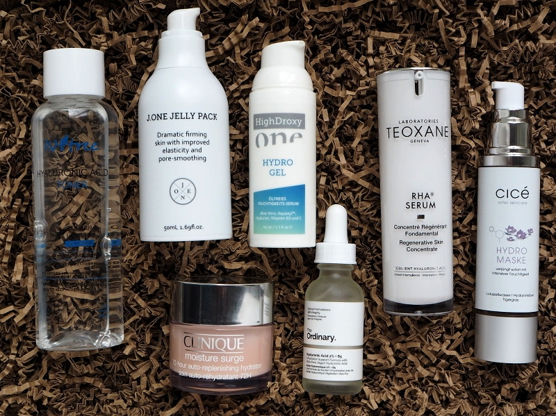 Feuchtigkeit Isntree Hyaluronic Acid Toner J.One Jelly Pack HighDroxy ONE Hydrogel Clinique Moisture Surge 72 hours The Ordinary Hyaluronic Acid Teoxane RHA Serum Cice Hydromaske