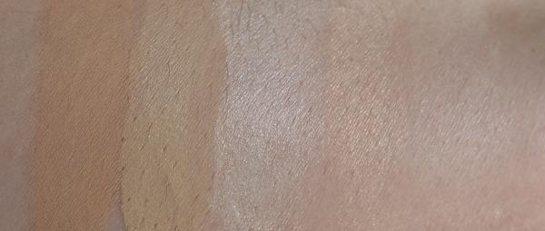 Clarins Skin Illusion Klairs Illuminating Supple Blemish Cream Becca Shimmering Skin Perfector L.O.V. Aura Glow Powder MAC Sculpting Powder Emphasize Swatch