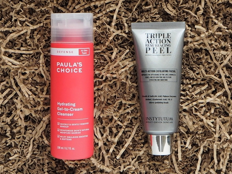 Paula's Choice Hydrating Gel to Cream Cleanser Instytutum Triple Action Peel