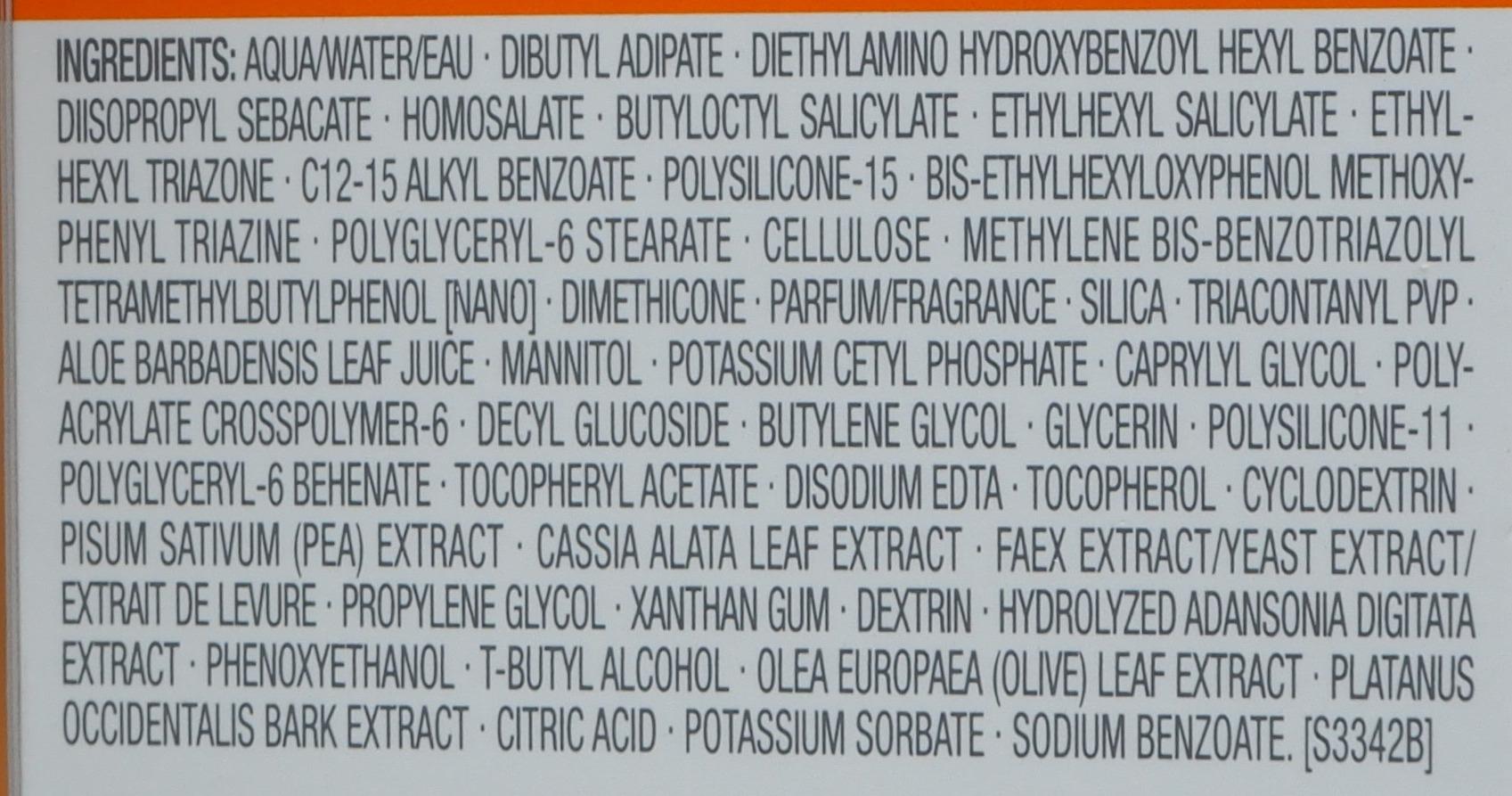 INCI Clarins Dry Touch Sun Care Cream SPF 50