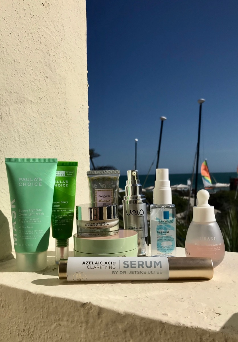 Paula's Choice Power Berry Serum, Paula's Choice Super Hydrate Overnight Mask,Velo Cosmetics Anti Redness Couperose Serum, Urang Pink Everlasting Ampoule,Pixi FortifEYE Patches, Instytutum Eye Cream, Canmake Mermaid UV Gel, La Roche-Posay Toleriane Ultra 8, Uncover Azelaic Acid Clarifying Serum