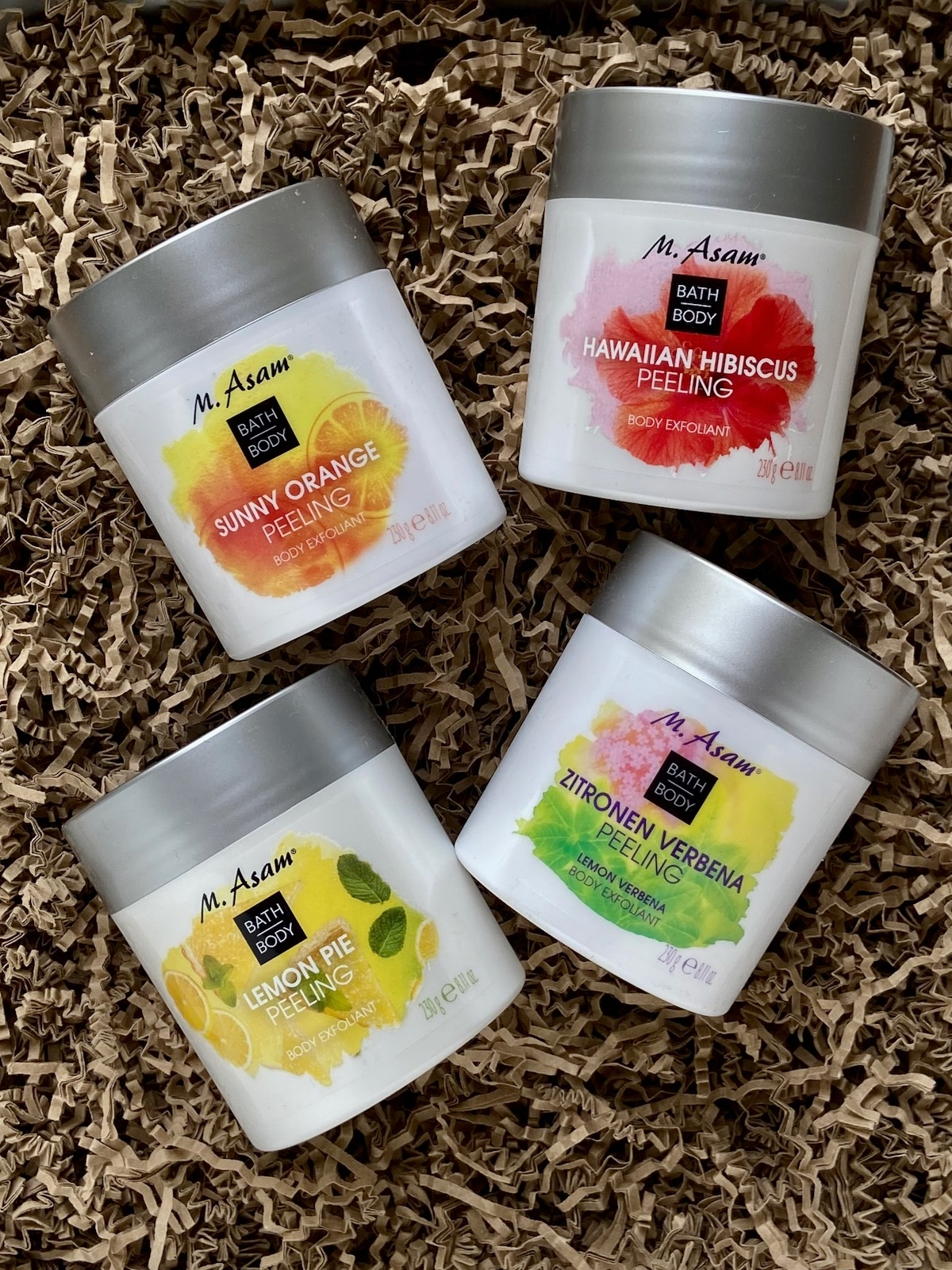 Asam Body Peeling Sunny Orange Hawaiian Hibiscus Lemon Pie Zitronen Verbena