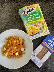 Wochenendrezept: Couscous Salat mit Möhren und Feta (und Stremellachs)