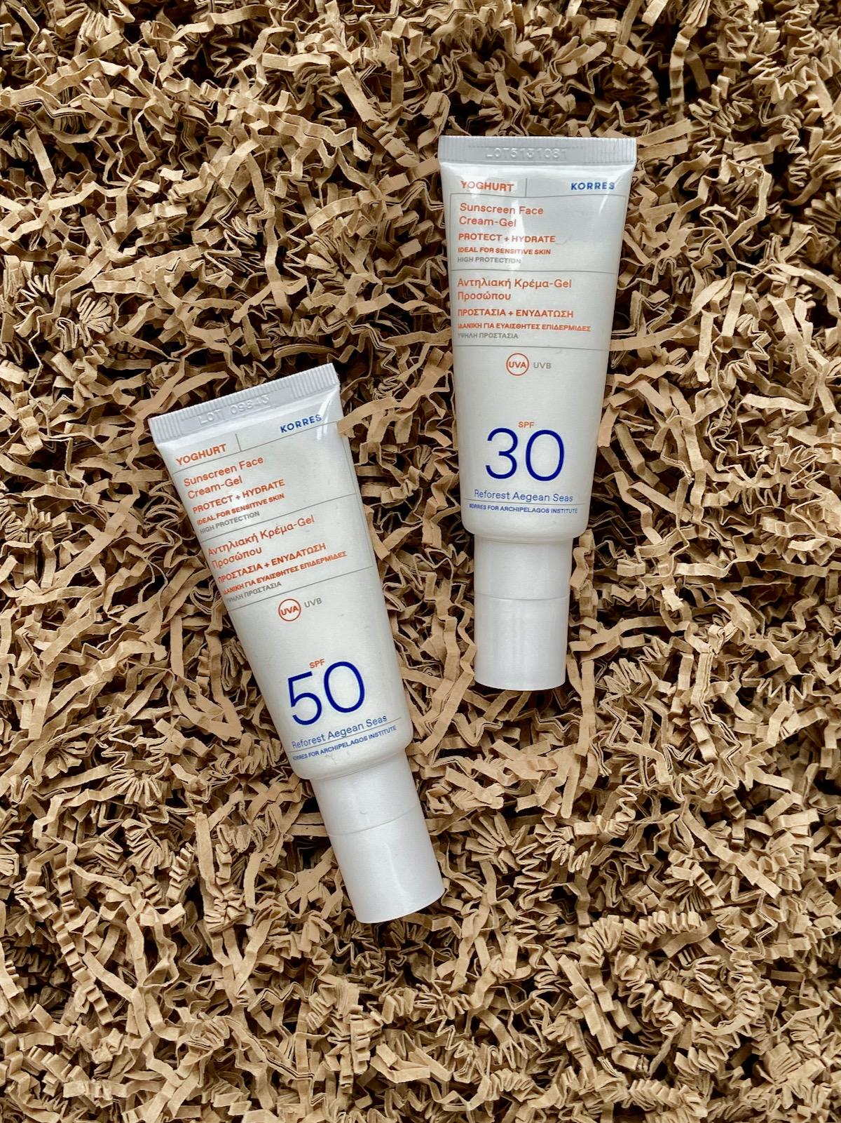 Korres Sunscreen Face Cream-Gel SPF 30 SPF 50 Sonnenschutz