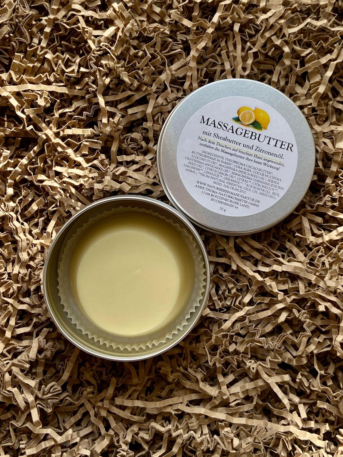 Naturseifen Uckermark Massagebutter mit Sheabutter und Zitronenöl