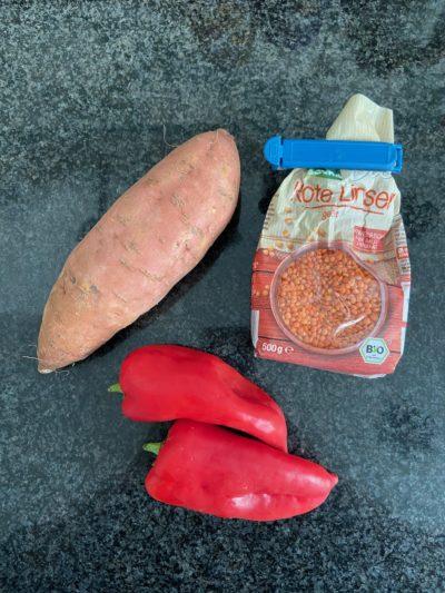 Süßkartoffel Soulfood mit roten Linsen