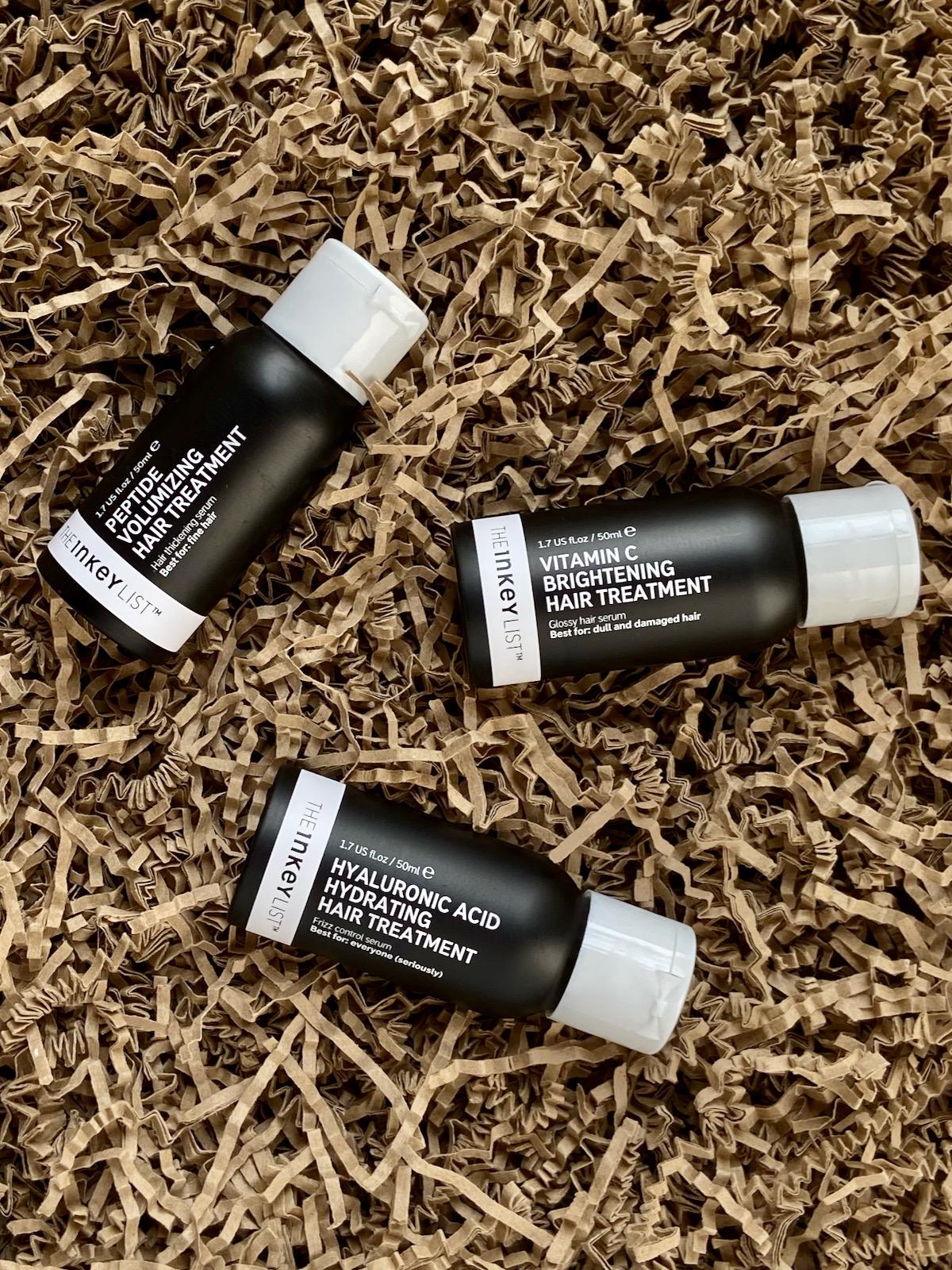 The Inkey List Peptide Volumizing Hair Treatment Vitamin C Brightening Hair Treatment Hyaluronic Acid Hydrating Hair Treatment Haarpflege