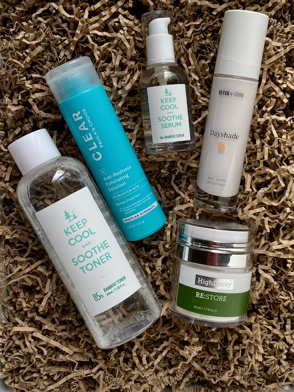 Winterpflege Gesicht Keep Cool Soothe Toner Paula's Choice Clear 2% BHA Regular Strength Keep Cool Soothe serum Beyer & Söhne Dayshade HighDroxy RESTORE Hautpflege